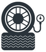 Blue Tire Rotation and Pressure Icon